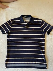 Polo Ralph Lauren Vtg Terry Cloth SS Polo Shirt Pony Striped Sz Large 90's CLEAN
