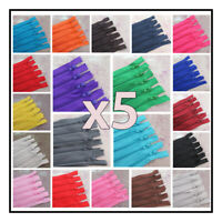 "X 5 ZIPS X No.3 CLOSED END 4"" - 20"" NYLON ZIPS ""26 COLOURS"" HABERDASHERY ZIPPERS"