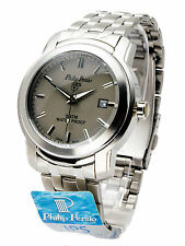 PHILIP PERSIO:MENS' STAINLESS STEEL METAL RND CASE GRAY FACE ANALOG W/DATE WATCH