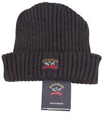 PAUL & SHARK YACHTING Winter Mütze Hat Beanie 100% Schurwolle Virgin Wool Grau