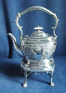 "GOOD Large 13"" ~ SILVER Plated ~ Spirit KETTLE on Stand ~ c1900 by Mark Willis"