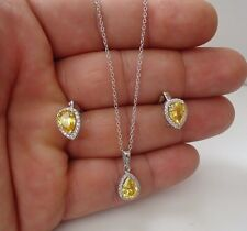PENDANT & EARRING SET W/ 7.20 CT YELLOW / WHITE DIAMONDS/925 STERLING SILVER