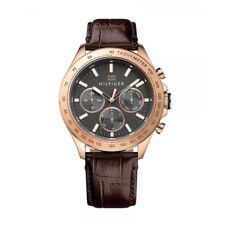 Tommy Hilfiger Reloj 1791225 de Hombre Acero Inoxidable Oro Rosa Cuero Braun