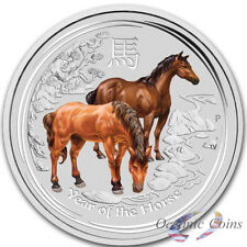 2oz 2014 P Lunar Year Of The Horse Coloured .999 Silver Coin-Low 7,423 Mintage