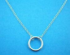 "Sterling Silver 925 Infinity Karma Forever Circle Necklace 16"" / 18"" Adjustable"