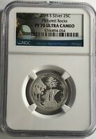 2018 S NGC PF70 PROOF ULTRA CAMEO SILVER PICTURED ROCKS QUARTER 25c UC