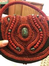 Antique Unique Hand Made Real Stones Cinnabar Garnets Green Stone Mosaic  Purse