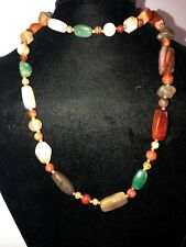Vintage 38 Inches Long natural Agate Beads Necklace