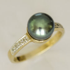 PEARL RING 8.4mm BLACK FRESHWATER PEARL GENUINE DIAMONDS REAL 9K GOLD SIZE M NEW