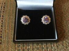 Beautiful vintage 925/amethyst Diamonique cluster earrings in vgc