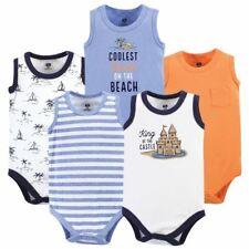 Hudson Baby Boy Sleeveless Bodysuits, 5-Pack, Sandcastle