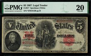 1907 $5 Legal Tender FR-91* - WoodChopper - STAR NOTE - Graded PMG 20 - VF