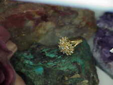 14k 1.00ctw Diamond Circle Cluster Ring Yellow Gold SI I Size 6 Vintage Clean!
