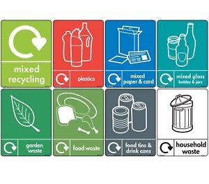 8 x WRAP Recycling Bin Set - [A6 100mm x 150mm] Self Adhesive Stickers