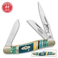 Beautiful Etched Kissing Crane Bahama Blue Stockman Pocket Knife - Bone/Abalone