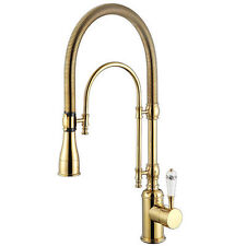 Kitchen sink gold single handle mixer tap swivel pull out down spray faucet tap