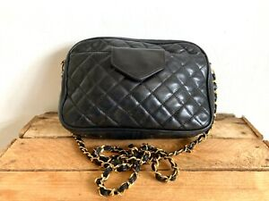 Vintage Chanteclaire Black quilted  cross body bag
