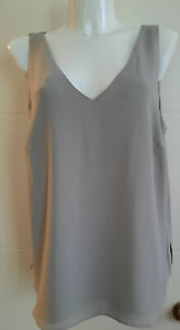 ex Evans Grey Womens V-Neck Layered Sleeveless Summer Blouse Top Plus Size 14-28