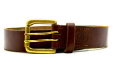 Vintage Handmade Real Leather Belt Brown Double Pin Buckle Size 30