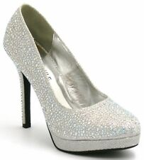 a894ccbc2f7f WOMENS LADIES HIGH HEEL SPARKLY DIAMANTE PARTY BRIDAL WEDDING COURT SHOES  SIZE
