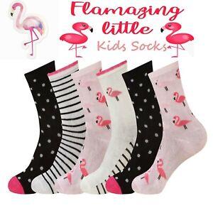 Girls Best Gift Socks Children Kids Multicoloured Flamingo Design Novelty Socks