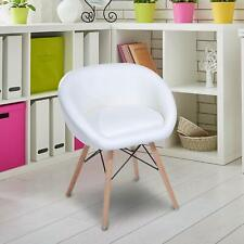 Homcom Dining Chair Legs Solid Wood Upholstered Seat White Cushioned, White