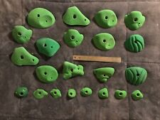 Lot of 14 Indoor Green Jug Rock Climbing Holds, Used With 8 Feet