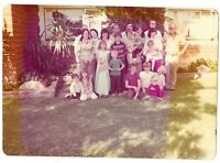 Vintage 70s PHOTO Outdoor Family Pic w/ Adults, Little Boys & Girls & Babies