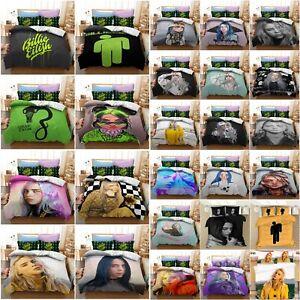 UK Billie Eilish Bedding Set 2/3Pcs Singer Rapper Duvet Cover Pillowcase Bed Set