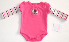 New GYMBOREE Size 5-9 Lbs Pink Long Sleeves Striped Snap Crotch Bodysuit