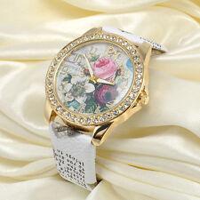 Craft Flower Design Dial Leather Stainless Steel Women Analog Quartz Wrist Watch