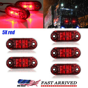 """5pcs Red LED Car Truck Trailer RV Oval 2.5"""" Side Clearance Marker Lights Lamp"""