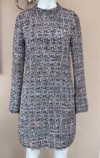 BNWT H&M Boucle Dress Size 10 Bloggers Favourite Tweed Grey Sequin Shift Raw Hem