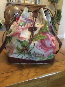Lovely Rare Vtg Floral Fabric & Chestnut Leather Mulberry Shoulder Messenger Bag