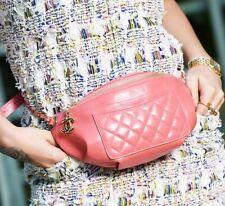 CHANEL 2018 18S Fanny Pack Waist Belt Bum Bag Pink Crumpled Calf with Gold