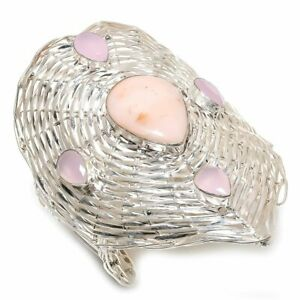 Pink Opal, Kunzite Gemstone Handmade 925 Silver Cuff Bracelet Adjustable