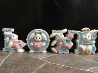 Burwood LOVE Bunnies Rabbits WALL PLAQUES Letters EASTER Home Interiors HOMCO
