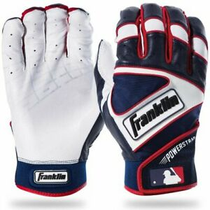 Franklin Sports Powerstrap Batting Gloves X-Large - Navy/Red/Pearl - 20462F5