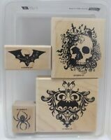 Stampin' Up Halloween From the Crypt Skull Bats Spider Gothic Motif Four Stamps