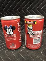 Lot of 2 Coke / Coca Cola cans, Max Headroom and Minnie Mouse empty