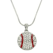 "Baseball Charm Pendant Fashionable Necklace - Sparkling Crystal - 17"" Chain"