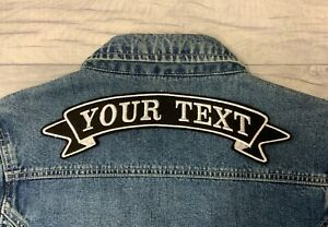 "11 3/4"" LARGE BACK TOP RIBBON PATCH BIKER PERSONALISED EMBROIDERED FELT PATCH"