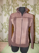 Brown Suede Knit Jacket Hippie CAROLYN TAYLOR Cute Vintage 2 Way Zipper Small