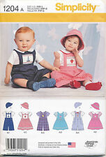 SIMPLICITY SEWING PATTERN 1204 BABIES XXS-L EMBROIDERED PINAFORE BODYSUIT ROMPER