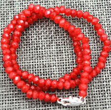 Natural Faceted 2x4mm Red Ruby Handmade Gemstone necklace 18''Silver clasps A