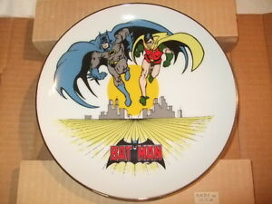 Vintage 14 KT. Gold Edged Batman Plate Plus; Vintage Graphic Novels And Extras