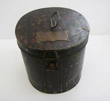 Antique Toleware Tin Hat Box with Brass Plaque W H Glafs Esq.