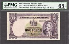 New Zealand One Pound Hanna ND (1940-55) Prefix 8/M Pick-159a GEM UNC PMG 65 EPQ