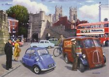 BMW Isetta Bubble Car Ford Poplar Morris J Type Van 1960s York Birthday Card