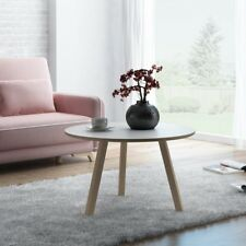 Modern Solid Beech wood White Round Coffee Table Living Room 3 Legs